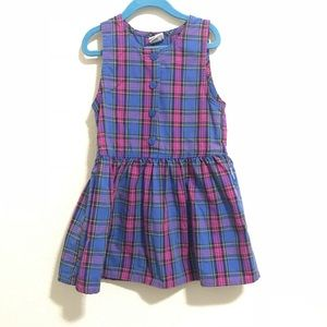 VINTAGE OSH KOSH plaid blue pink dress 5T
